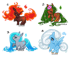 [CLOSED] Tiny Ponies Adopts - Elementals by Nuvvola