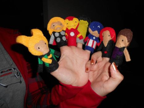 Avengers finger puppets WIP by shadesfire