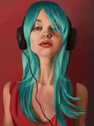 Headphone Girl (Speed-ish-paint) by HarlequiNQB