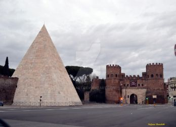 The Pyramid Cestia and Porta San Paolo in Rome by Book-Art
