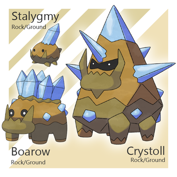 Stalygmy, Boarow, and Crystoll by Tsunfished