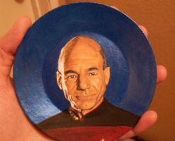 Captain Picard (Star Trek:TNG) painted onto plate by TinyAna