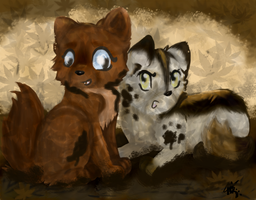 Two little wolfs by Crystalfeather859