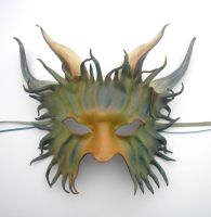 Horned Leather Mask...Greens by teonova