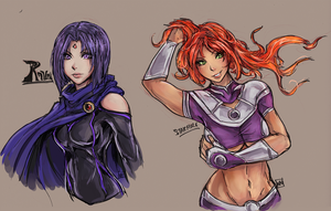 Raven and Starfire color by bulletproofturtleman