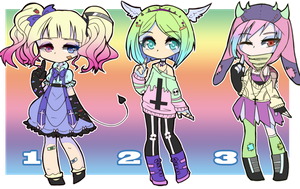 Pastel Goth Adoptables [2/3 open] by toorux