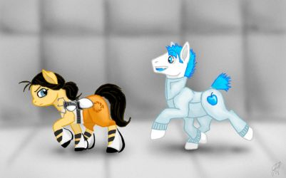 Chell and Wheatley ponys by MariaRuta