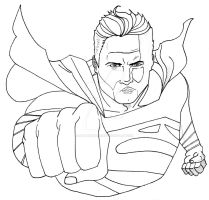 Man of Steel line art by nathanobrien