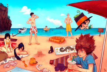 Reborn : everyone on the Beach by funshark