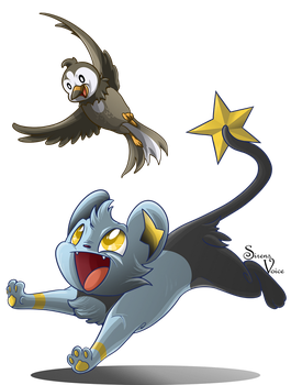Starly and Shinx by Sirens-Voice