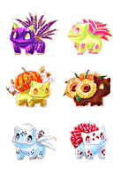 Bulbasaur variants by nymei