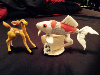 Tea and Koi (felt dolls) by MichelleBergeron