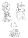 set of free sketches two by Miikage