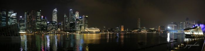 Singapore night viewed from Marina Bay Sands Hotel by coldfingers