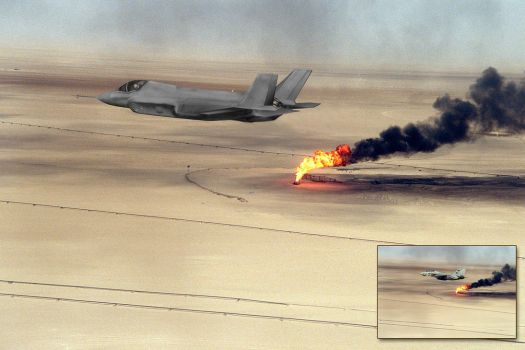 F-35 Over Burning Oil Field by Keith-Killer