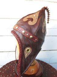 Pointy Mongol Leather Winter Viking Hat  OOAK Side by LeatherHead72