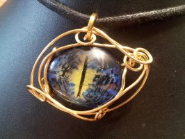 Simple Wrap eye in black, blue, and yellow by BacktoEarthCreations