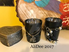 Painted Votives with Jewlery by AliDee33