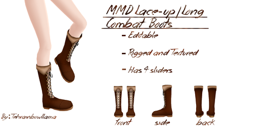 MMD Lace-up/ Long Combat Boots by Tehrainbowllama