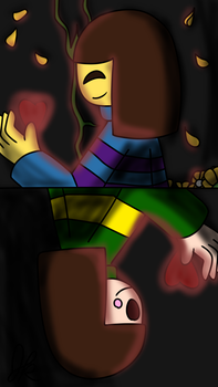 Chara and Frisk (Airbrush lighting test) by AwkwardDreamer31st