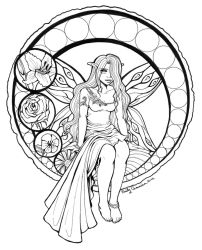 Stained Glass Fairy Lineart by EmilyCammisa