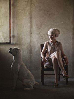 Women with the dog by an open window by Gundross