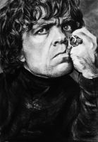 Tyrion Lannister from game of thrones (charcoal) by waarheid