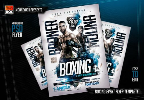 Boxing Event Flyer Template by AndyDreamm