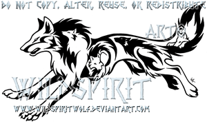 Tribal Running Wolf Tattoo by WildSpiritWolf