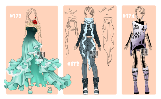 [closed] Auction famale Outfits (172-174) by YuiChi-tyan