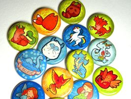 Mythical creature buttons by michellescribbles