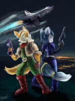 StarFox Fox And krystal by OwlVortex