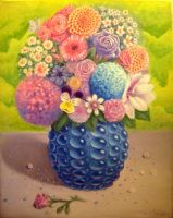 Vase with flowers - oil painting by MWunderlich