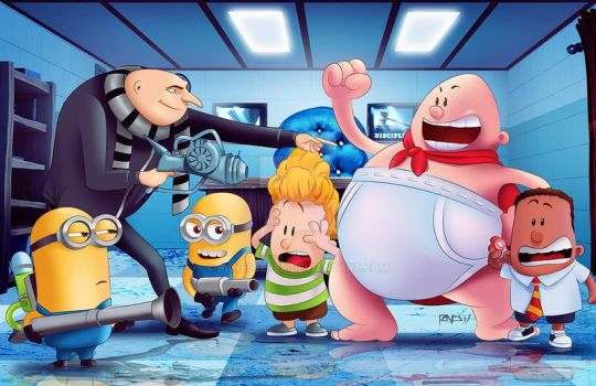 Commission Art: Gru, Minions and Capt. Underpants by paneseeker