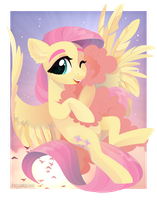 Fluttershy hugs the cloud by GLaSTALINKA