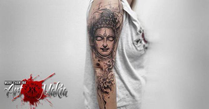 Buddha Abstract Tattoo by ArtMakia