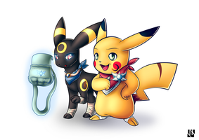 Umbreon and Pikachu (PMD Universe) by J-Zykov