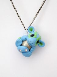 Blue Dragon Pendant by Liluri-Creations