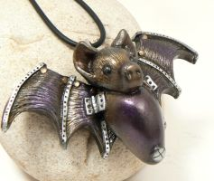 steampunk bat pendant by DesertRubble