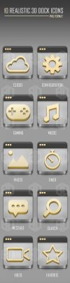10 REALISTIC 3D DOCK ICONS [YELLOW   BLUE   RED] by BeautyDesignz