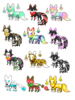 Sweet Slime,Ink,Paint foxes adopts (6) CLOSED by RandomGatcha-Adopts