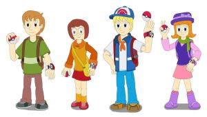 Four kids the Pokemon Trainers by MCsaurus