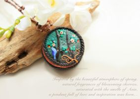 Locket Necklace ''Enchanting Spring'' by MyMandarinDucky