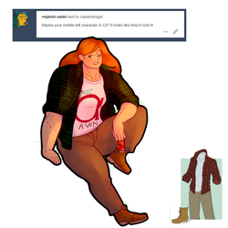 Outfit meme Tall flannels and boots by CaptainBragd
