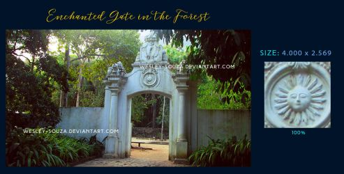 Enchanted Gate in the Forest - Stock by Wesley-Souza
