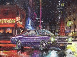 Duster In The Downpour (Painting) by FastLaneIllustration