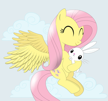 Fluttershy with Angel by tgolyi