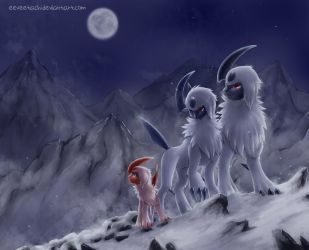 Absol Family by Eeveetachi