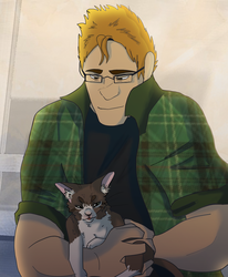 Brutus with a cat by SpiderRen
