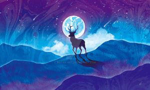 Moonlit Stag by mayan-art